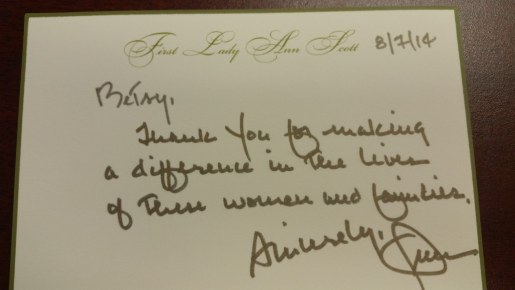 First Lady Ann Scott Sent Her Personal Thanks to CEO Betsy Irizarry